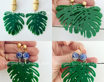 Chinoiserie Tropical Leaf Earrings | GREEN, EMERALD, bamboo, blue and white, gold, palm leaf, lightweight, Designs by Laurel Leigh