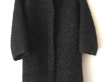 Classic wool 100% black woman coat , oversize.