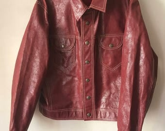Classic Diesel Short Vintage Red Genuine Leather Durable Jacket Men's Size Medium.