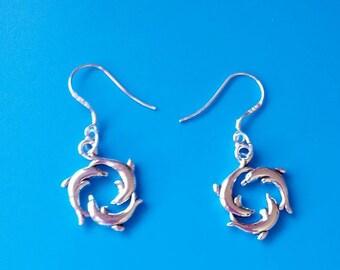 Silver dolphin drop earrings - gift for ocean lovers - gift for dolphin lovers