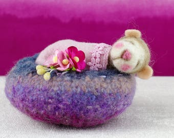 Needle felted sleeping mouse in felted wool pod.