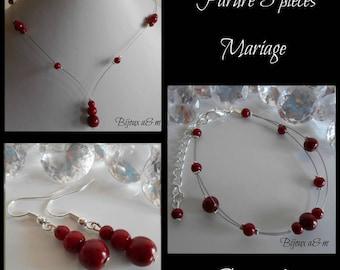 Set of 3 wedding pieces cascade of Burgundy beads