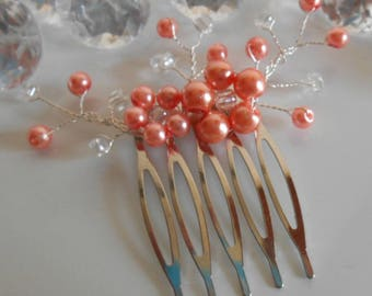 Coral beaded flowers wedding hair comb