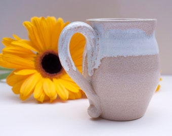 Ceramic coffee cup or tea cup, Small handmade stoneware cup for modern tableware, Unique white & beige pottery mug for original gift idea