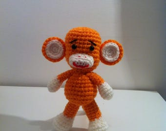 Crochet Monkey, Amigurumi Monkey, Orange Monkey, Handmade Soft Toy