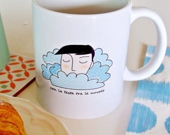 """Cup """"with his head in the clouds"""""""