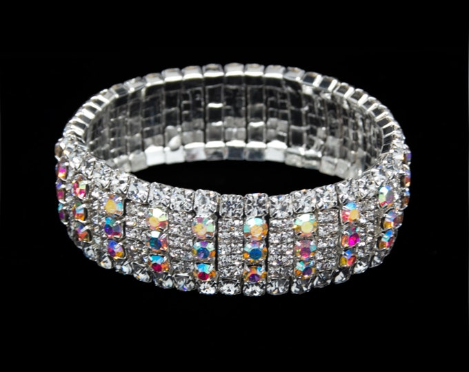 Brianna AB and Clear Crystal Competition Stretch Bracelet for NPC Bikini Fitness Bodybuilding Contests