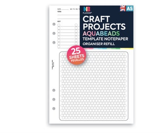 PRINTED Craft projects Aquabeads Template notepaper organiser planner A5 / Personal Filofax A5 Kikki.K Large Compatible Refill Coloured