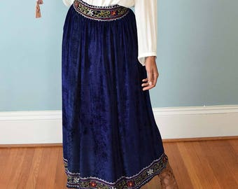 "60s Blue Crushed Velvet Maxi Skirt-Boho 1960s Vintage Embroidered Skirt-Gypsy-Hippie-Festival-Bohemian-High Waist-Gathered-S-Small-28"" waist"