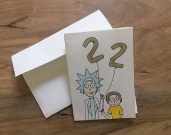Rick and Morty Birthday Card // Customizable age // Envelope included
