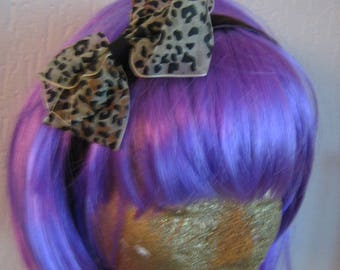 Brown velvet bow in leopard print organza hair clip headband, handmade