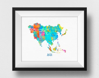 Asia Map Wall Art, Asia Map Print, Map Of Asia Poster, Watercolour Asia Continent Map, Home Decor, Asian Theme Nursery Decor (722)