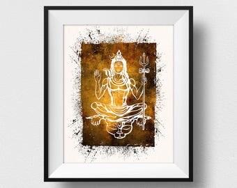 Shiva Print, Shiva Painting, Shiva Wall Art, Lord Shiva, Hindu God Poster, Hindu Art, Hindu Decor, India Gift, Hinduism Wall  (N544)