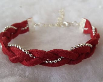 Red suede and ball chain braided bracelet