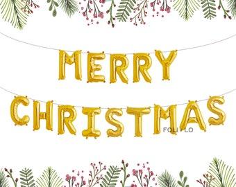 Merry Christmas Balloons | Christmas Letter Balloons | Merry Christmas Decoration | Christmas Party Decoration | Gold Christmas Balloons
