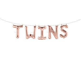 TWINS Rose Gold Letter Balloons | Metallic Letter Balloons | Rose Gold Party Decorations