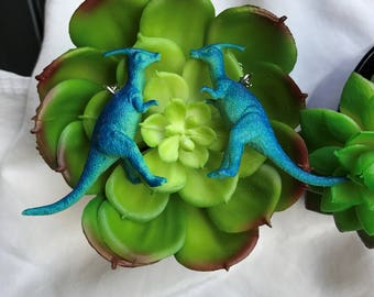 Dinosaur Earrings Cute Upcycled Repurposed Toy Miniature Figurine