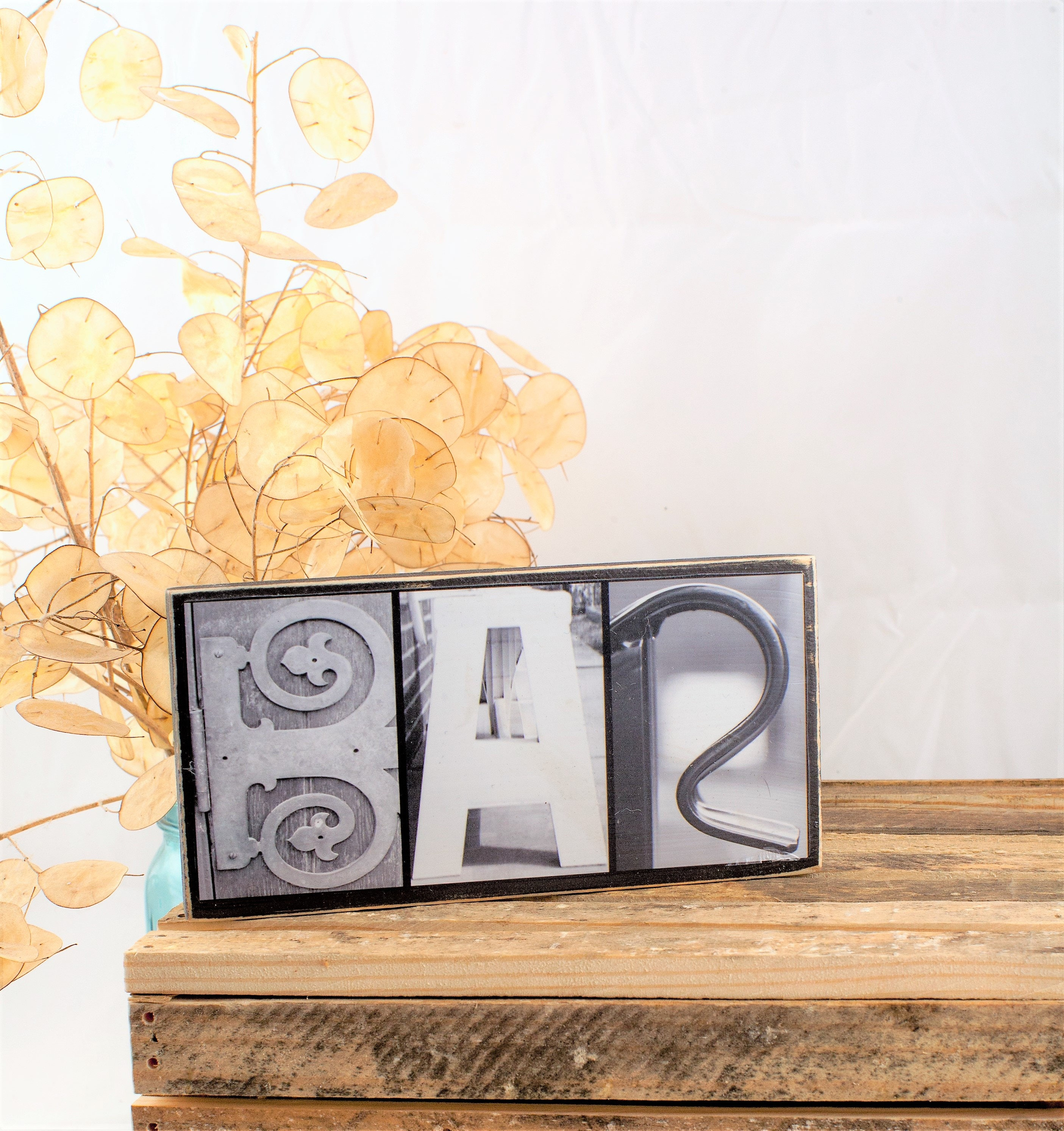 Bar Letter Photography Wood Sign - Bar Decor Sign - Black and White ...