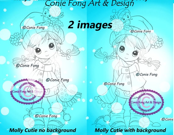 SALE Digital Stamp, Digi Stamp, digistamp, 2 images Molly Cutie by Conie Fong, Christmas, coloring page, children, bird, snow