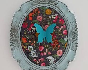 fabric and Butterfly wooden oval frame
