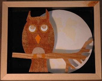 Owl and Moon Shadow Box