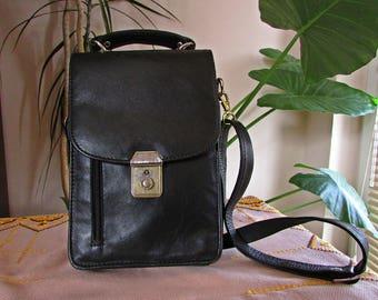 Vintage 90s Men's Patent Leather Shoulder or Cross Body Handbag, Genuine Black Leather Purse, Original Leather Strap Bag, Messenger Bag