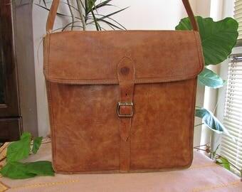Vintage 90s Men's Patent Leather Shoulder or Cross Body Handbag, Genuine Brown Leather Purse, Original Leather Strap Bag, Messenger Bag