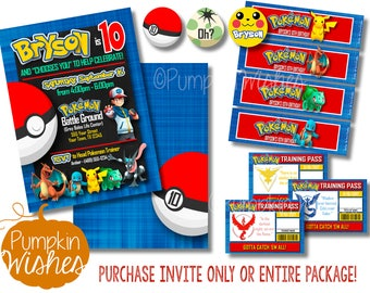Pokemon Invitations/Pokemon Party/Pokemon Invite/Pokemon Birthday/Pokemon GO Invitation/Pikachu Invitation/Pokemon - PRINTABLES