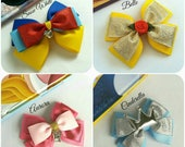 Snow White,Belle, Cinderella,Aurora Hair Bow, Sleeping Beauty, Princess, Baby Headband,Red, Yellow, Blue, Pink, Silver, Disney,Uk
