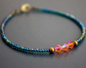 "Teal & Orange Swarovski Crystal Delicate Bracelet | Dainty Friendship Bracelet | Colorful Boho Bracelet: ""Crystalline Energy"""