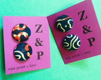 African Print Earrings // Blue and Orange Wax Print Earrings // Button Earrings // Stud Earrings