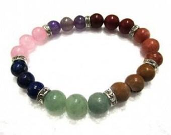 Colored Chakra Stones Elastic Bracelet  9-10mm