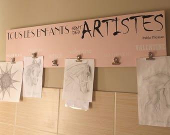 Every child is an artist . Panneau bois personnalisable .Panneau citation Pablo Picasso