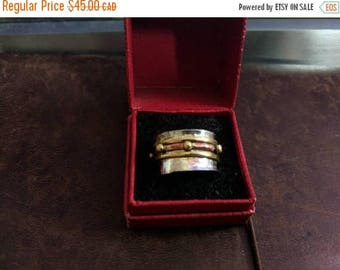ON SALE Vintage Sterling Silver and Brass Ring