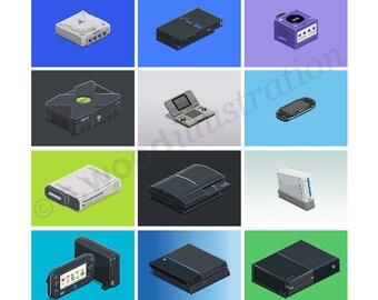 """Modern Consoles Pixel Art Print 12"""""""