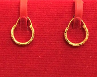 Beautiful pair of Hoops Bali Earrings in Pure 18ct Gold (Ideal for Kids)