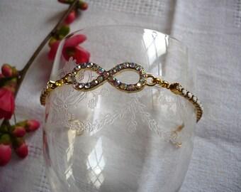 Bracelet infinity multicolored and white rhinestone