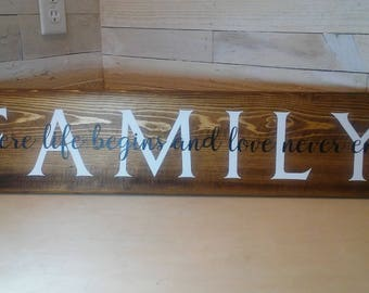 Family Sign, Farmhouse Style Wall Hanging, Rustic Sign, Fixer Upper Style, Country Cottage Decor, Where Life Begins and Love Never Ends