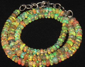 """64 Ctw 1Necklace 4.5to5.5 mm 16"""" Beads Natural Genuine Ethiopian Welo Fire Opal S3100"""