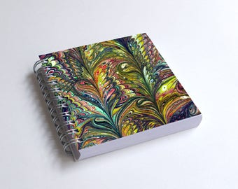 "Notebook 4x4"" decorated with motifs of marbled papers - 41"