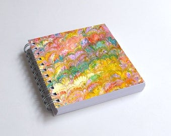 "Notebook 4x4"" decorated with motifs of marbled papers - 39"