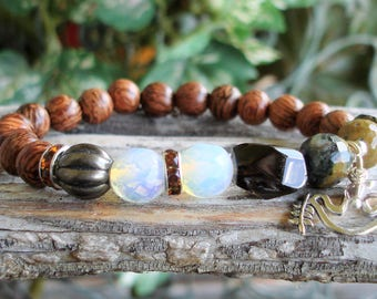 Old Palm Wood Women's Peace Beaded Gemstone Yoga Stretch Bracelet - Asymetrical Womens Bracelet, Sense of Self  C 799 D 37