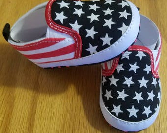 American Flag Deck Shoes Baby Pre-walker Soft Sole Red White Blue