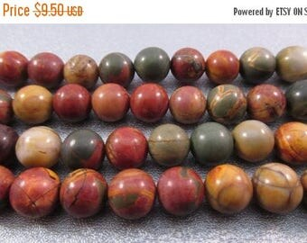 ON SALE 15% OFF Red Creek Jasper 8mm Round Beads 48pcs