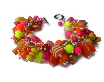 Pink, orange and yellow charm bracelet, pink and orange chunky charm bracelet, tutti fruity multi charm bracelet, one of a kind, neon beads.