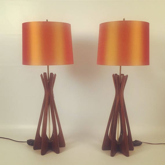 Adrian pearsall Teak pair of Mid-Century Lamps with new orange silk Shades.
