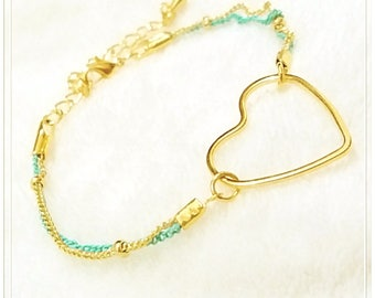 16k Gold Plated Brass , Lacquer Coated Brass Bracelet, Heart Shaped, Special