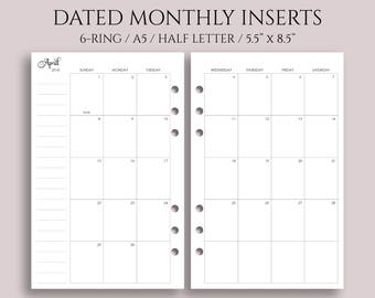 "Dated Monthly Calendar Planner Inserts, 2018 and 2019 MO2P, Sunday-Saturday Layout ~ Half Page / A5 / 5.5"" x 8.5"" for Filofax Rings (A5-MSS)"