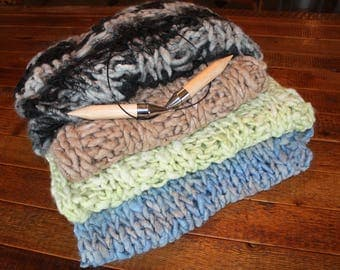 Alpaca Throws, Hand Knitted, Hand Dyed