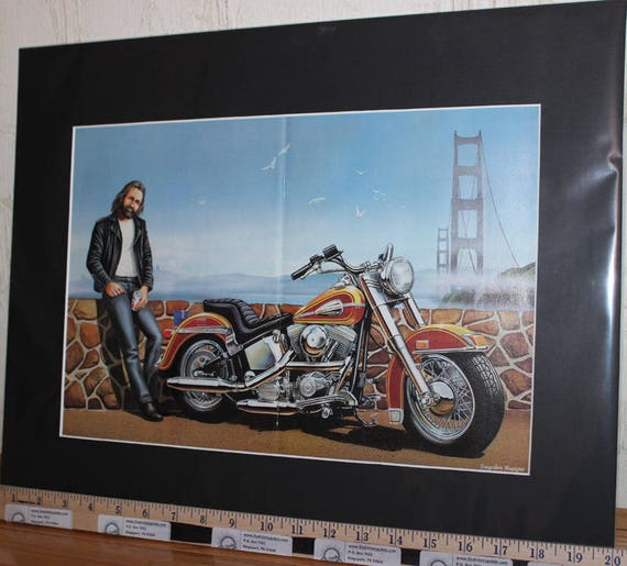 "David Mann ""Golden Gate Bridge Break"" 16'' x 20'' Matted Biker Art #8802ezrxmb"